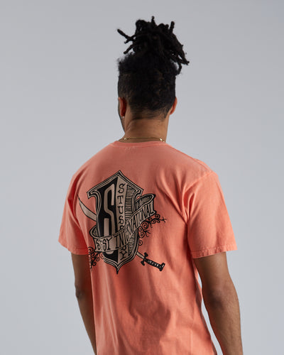 Coat Of Arms Pig Dyed Tee - Neon Orange