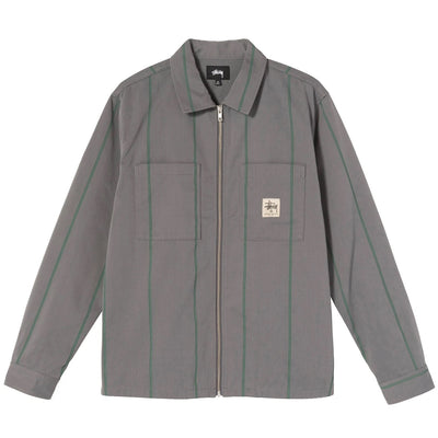 Full Zip LS Work Shirt - Grey Stripe