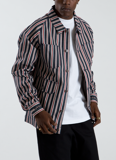 Striped Denim Utility Jacket - Red