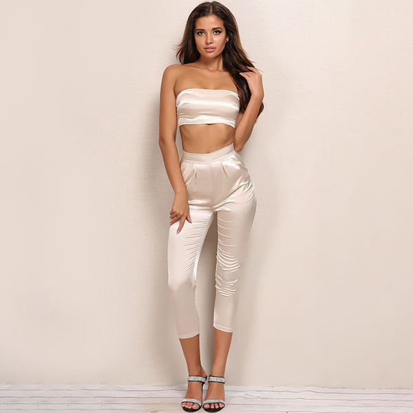 d6729314b229 Two Piece Satin Look Strapless Crop Top And Pants Set - 2 Colors ...