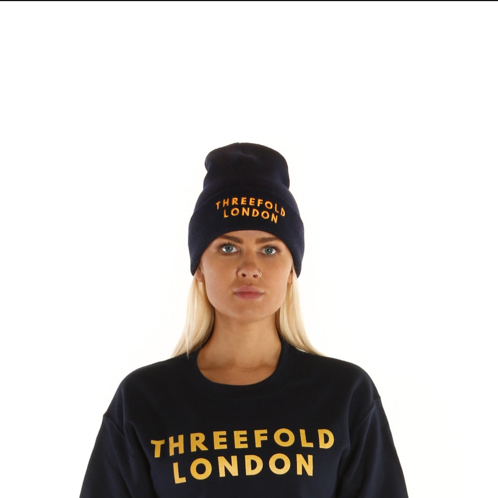 e9068e90076 Limited Edition  Classic Beanie Hat in Navy Blue   Gold