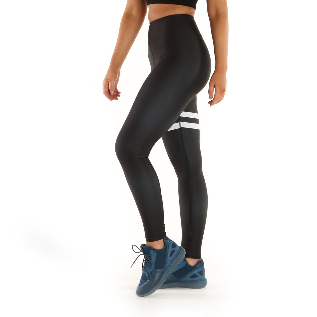 5603296091 Women's High Waisted Yoga Pants in Satin Black & White | 3FLD LDN ...