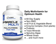 [110+ MiracleMulti Performance Blend] Best Multivitamin for Men | Non-GMO Vitamin Mineral Supplement w/ Probiotics Superfood Enzyme Blend for Optimized Heart, Prostate, Stamina, Energy - 60 Day Supply