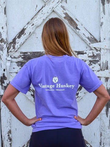 Vintage Huskey Short Sleeve Pocket Tee- Purple