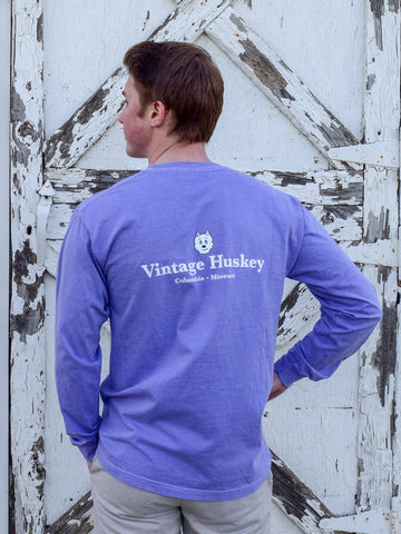 Vintage Huskey Long Sleeve Pocket Tee- Purple