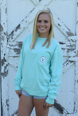 Vintage Huskey Long Sleeve T-Shirt- Chalky Mint