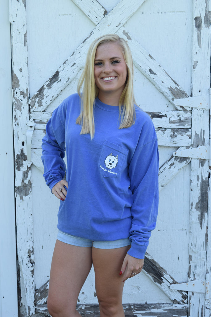 Vintage Huskey Long Sleeve T-Shirt- Periwinkle
