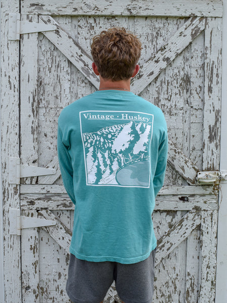 Vintage Huskey Long Sleeve Pocket Tee- Rock Quarry Rd