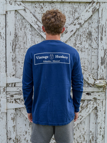 Vintage Huskey Long Sleeve Pocket Tee- Navy
