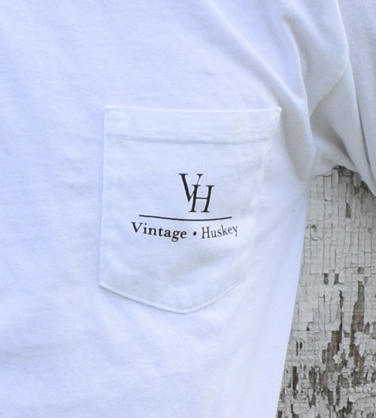 Vintage Huskey Long Sleeve Pocket Tee- White