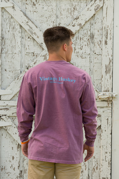 Vintage Huskey Long Sleeve T-Shirt- Purple