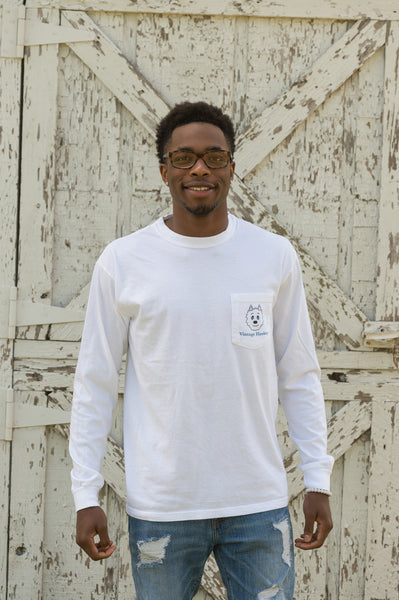 Vintage Huskey Long Sleeve T-Shirt- White