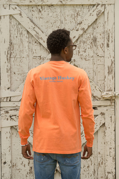 Vintage Huskey Long Sleeve T-Shirt- Orange