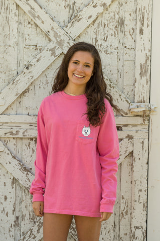 Vintage Huskey Long Sleeve T-Shirt- Pink