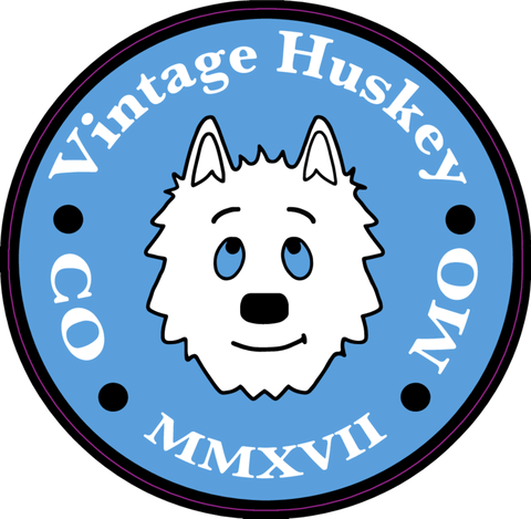 Vintage Huskey Circle Logo Sticker (Pk of 5)