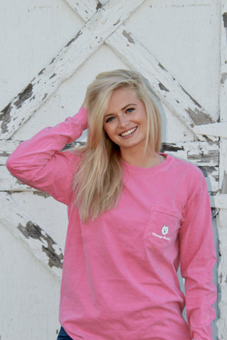 Long Sleeve Pocket Tee- Pink