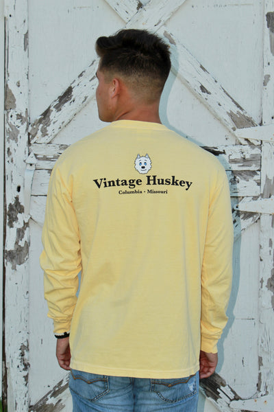 Long Sleeve Pocket Tee- Yellow