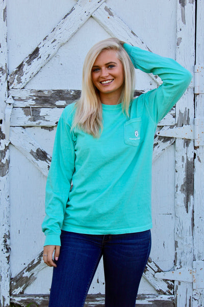 Long Sleeve Pocket Tee- Mint