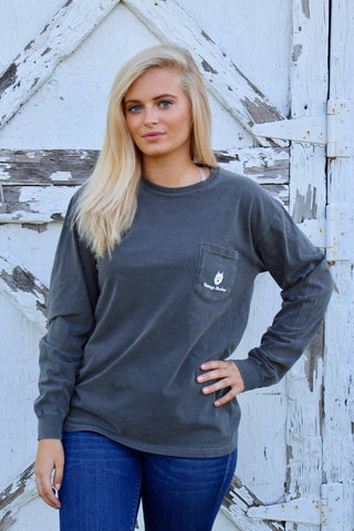 Long Sleeve Pocket Tee- Grey