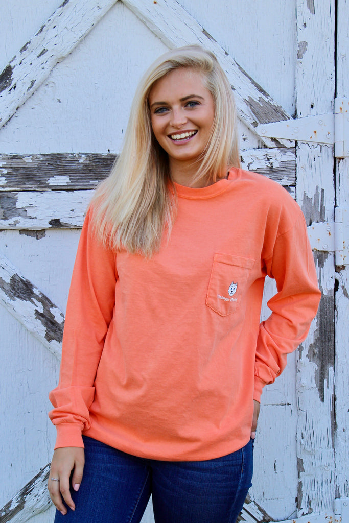 Long Sleeve Pocket Tee- Orange