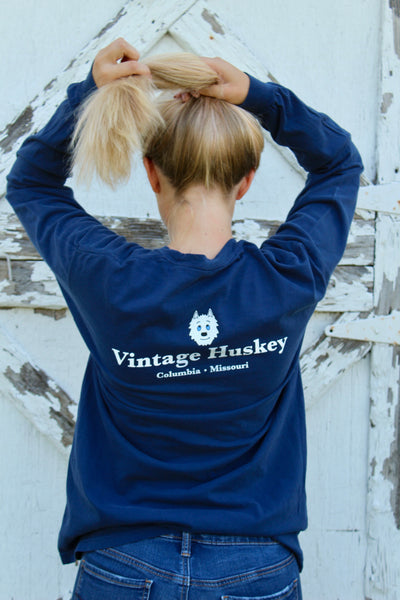 Long Sleeve Pocket Tee- Navy