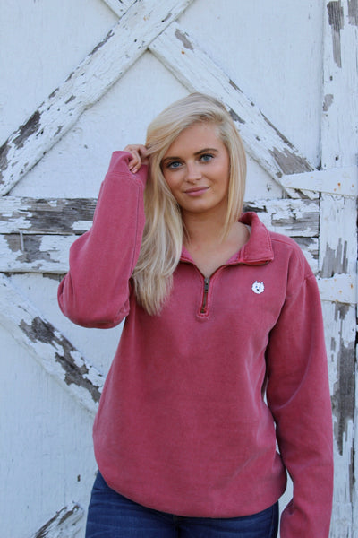 1/4 Zip Fleece Pullover- Crimson