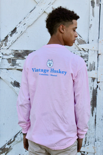 Long Sleeve Pocket Tee- Light Pink