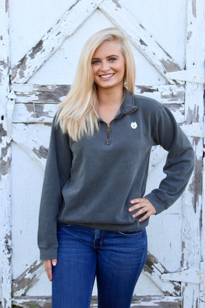 1/4 Zip Fleece Pullover- Grey
