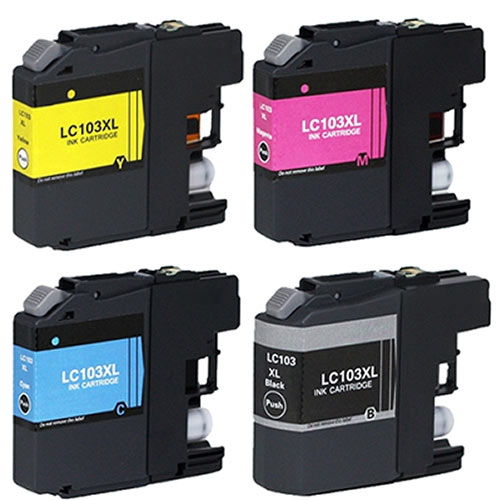 Compatible Brother LC-103 LC103 Printer Ink Cartridge Set of 4 (Black, Cyan, Magenta, Yellow)