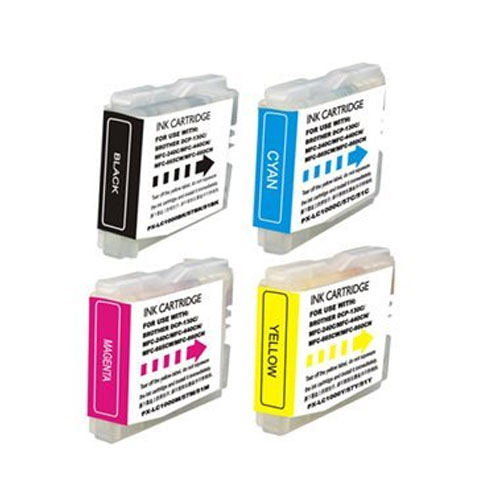 Compatible Brother LC-51 LC51 Printer Ink Cartridge Combo of 4 (Black, Cyan, Yellow, Magenta)