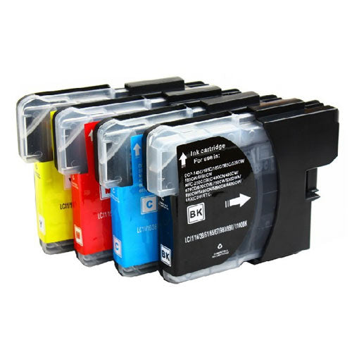 Compatible Brother LC-61 LC61 Printer Ink Cartridge Combo of 4 (Black, Cyan, Magenta, Yellow)