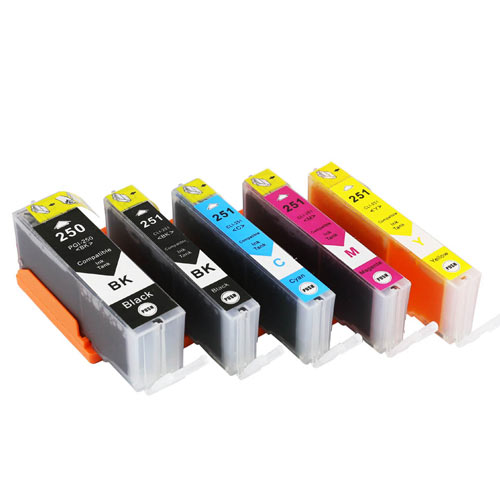 Compatible Canon PGI-250 CLI-251 Printer Ink Cartridge Set of 5 (2 Black, 1 Cyan, 1 Magenta, 1 Yellow )