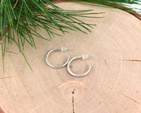 15mm Small Sterling Silver Open Hoop Post Earrings