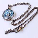 Copper Aquamarine Tree of Life Crystal Necklace (March)