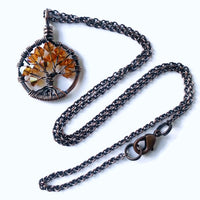 Copper Yellow Topaz Tree of Life Crystal Necklace (November)