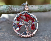 Copper Garnet Tree of Life Crystal Necklace (January)