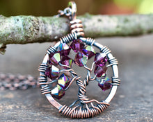 Copper Amethyst Tree of Life Crystal Necklace (February)