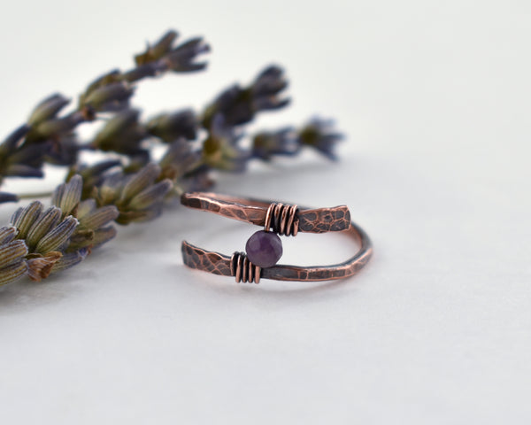 Amethyst Rustic Wrap Ring