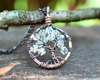 Copper Diamond Tree of Life Crystal Necklace (April)