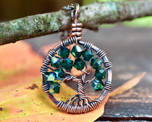 Copper Emerald Tree of Life Crystal Necklace (May)
