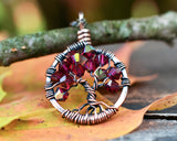 Copper Ruby Tree of Life Crystal Necklace (July)