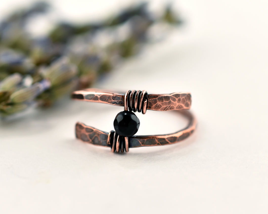 Onyx Rustic Wrap Ring