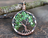 Copper Peridot Tree of Life Crystal Necklace (August)