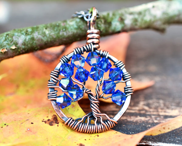 Copper Sapphire Tree of Life Crystal Necklace (September)