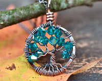 Copper Blue Zircon Tree of Life Crystal Necklace (December)