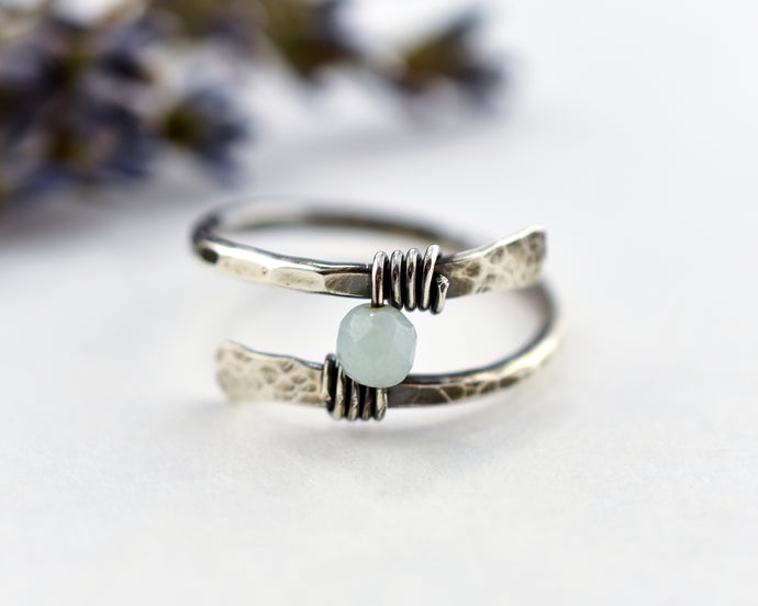 Amazonite Rustic Wrap Ring
