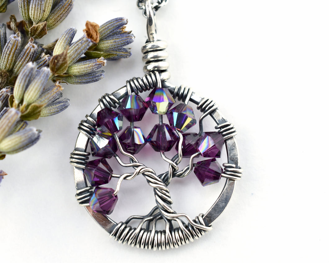 Silver Amethyst Tree of Life Crystal Necklace (February)