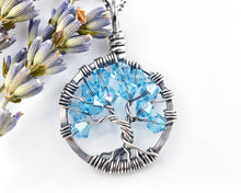 Silver Aquamarine Tree of Life Crystal Necklace (March)