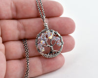 Silver Diamond Tree of Life Crystal Necklace (April)