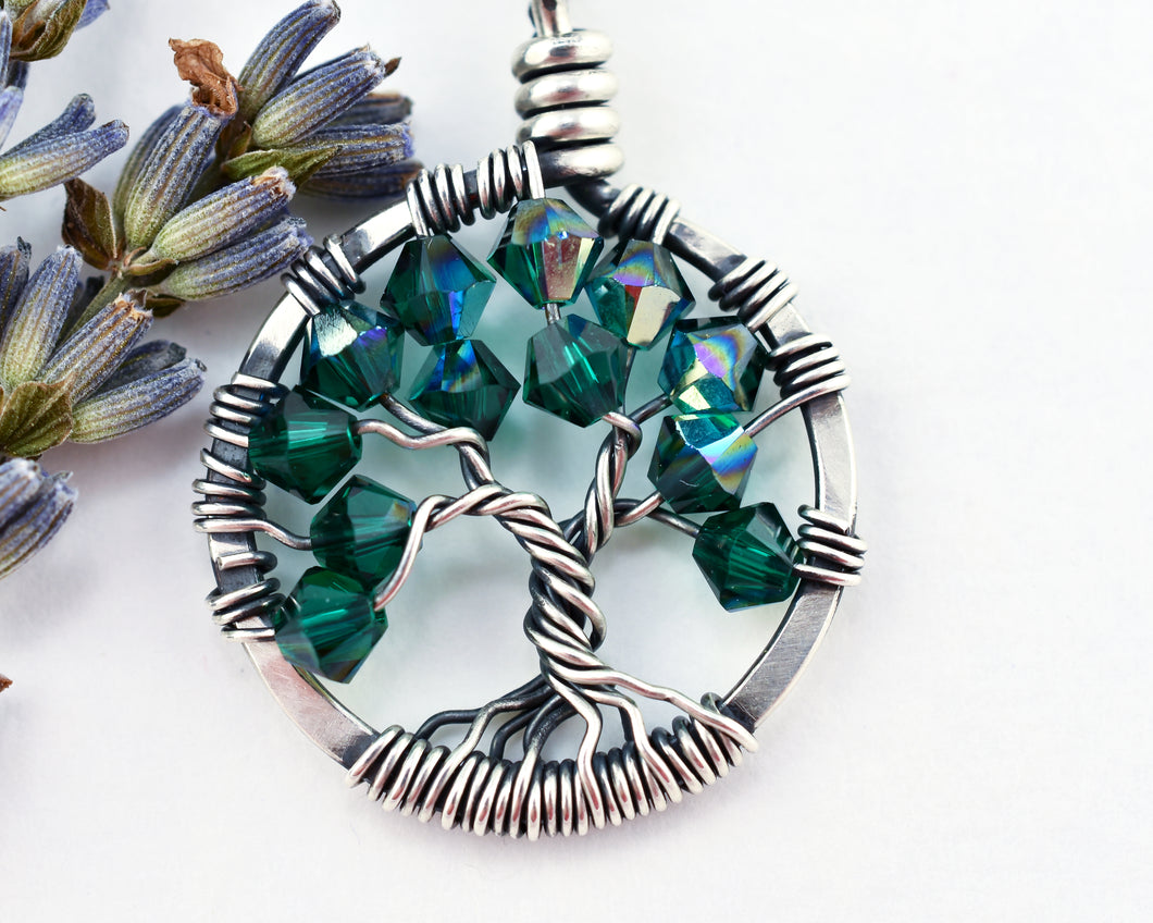 Silver Emerald Tree of Life Crystal Necklace (May)